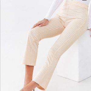 Gingham print flare pants